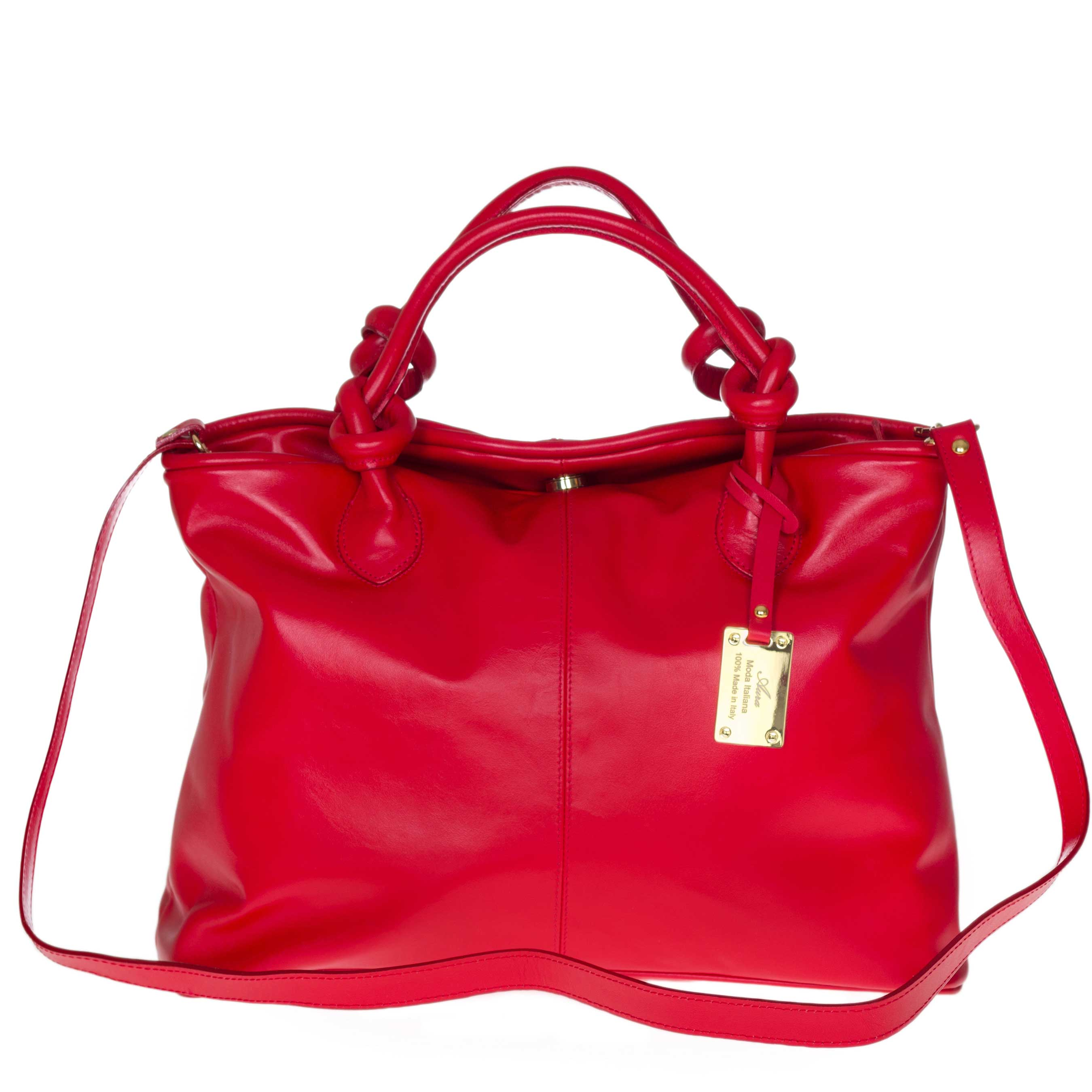 AURA Italian Made Red Leather Medium Tote Bag