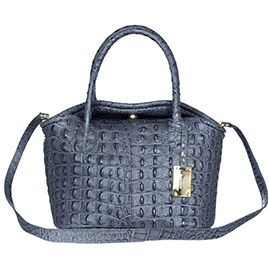 AURA Italian Made Gray Croc Embossed Leather Small Tote