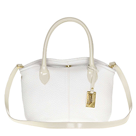 AURA Italian Made White Leather Small Tote