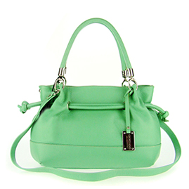 Green Leather Drawstring Satchel Handbag Made in Italy by Giordano
