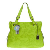 Green Flower Embossed Leather Tote Handbag Made in Italy by Giordano