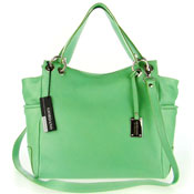 Green Leather Large Shopper Tote Handbag Made in Italy by Giordano