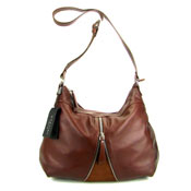 Montini Italian Brown Leather Crossbody Shoulder Bag With Zipper