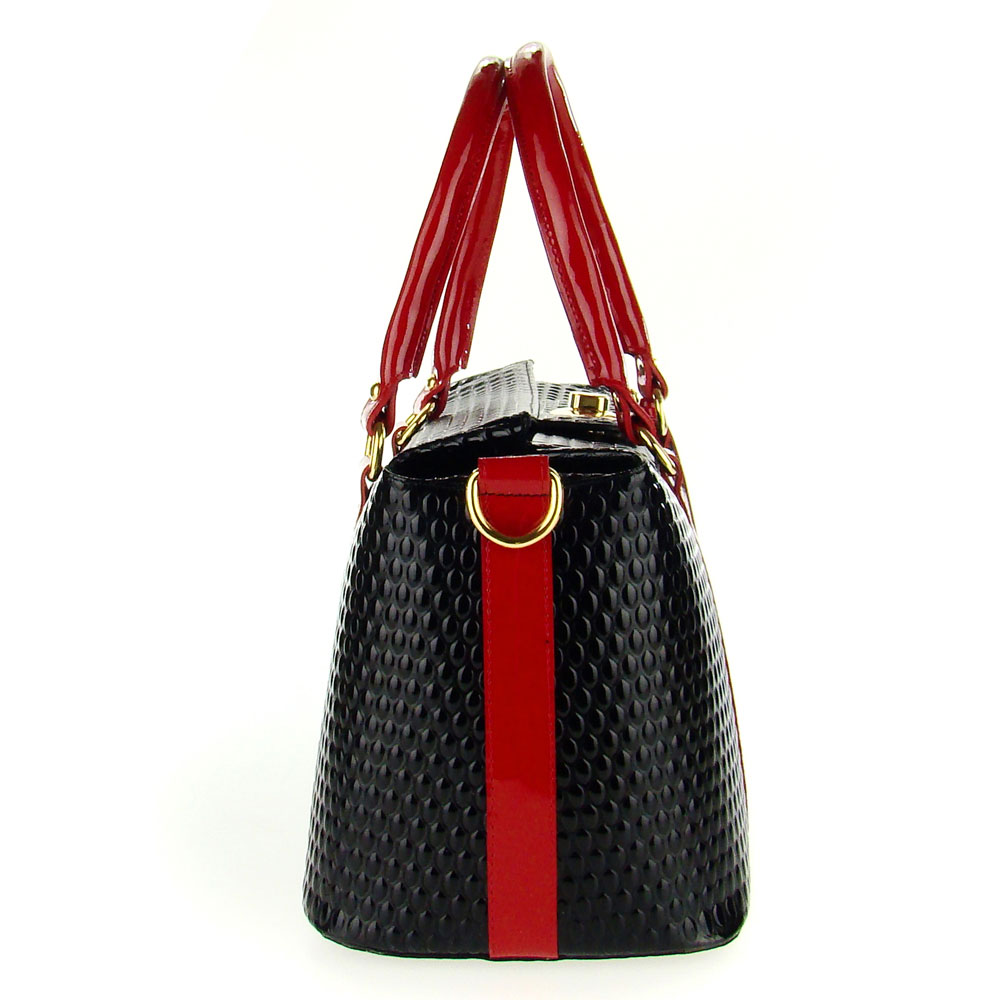 9ef8769d40 Black Patent Leather Large Structured Tote Handbag Made in Italy by ...