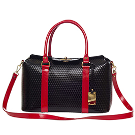 AURA Italian Made Black & Red Leather Large Designer Structured Tote Handbag