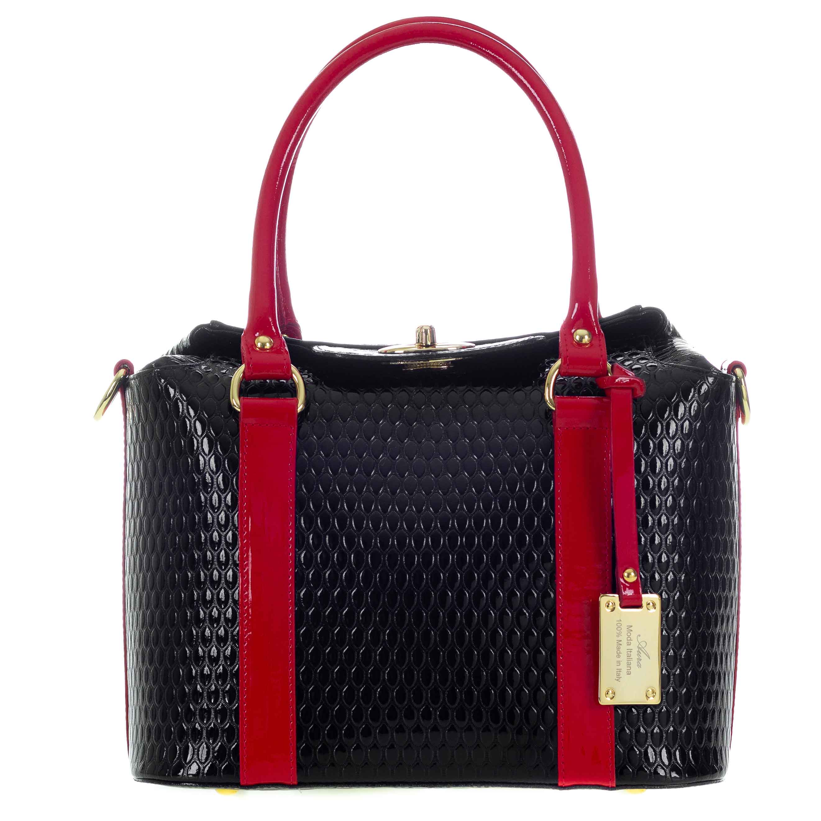 c6e2896acb803 Black Patent Leather Structured Tote Handbag Made in Italy by Aura ...