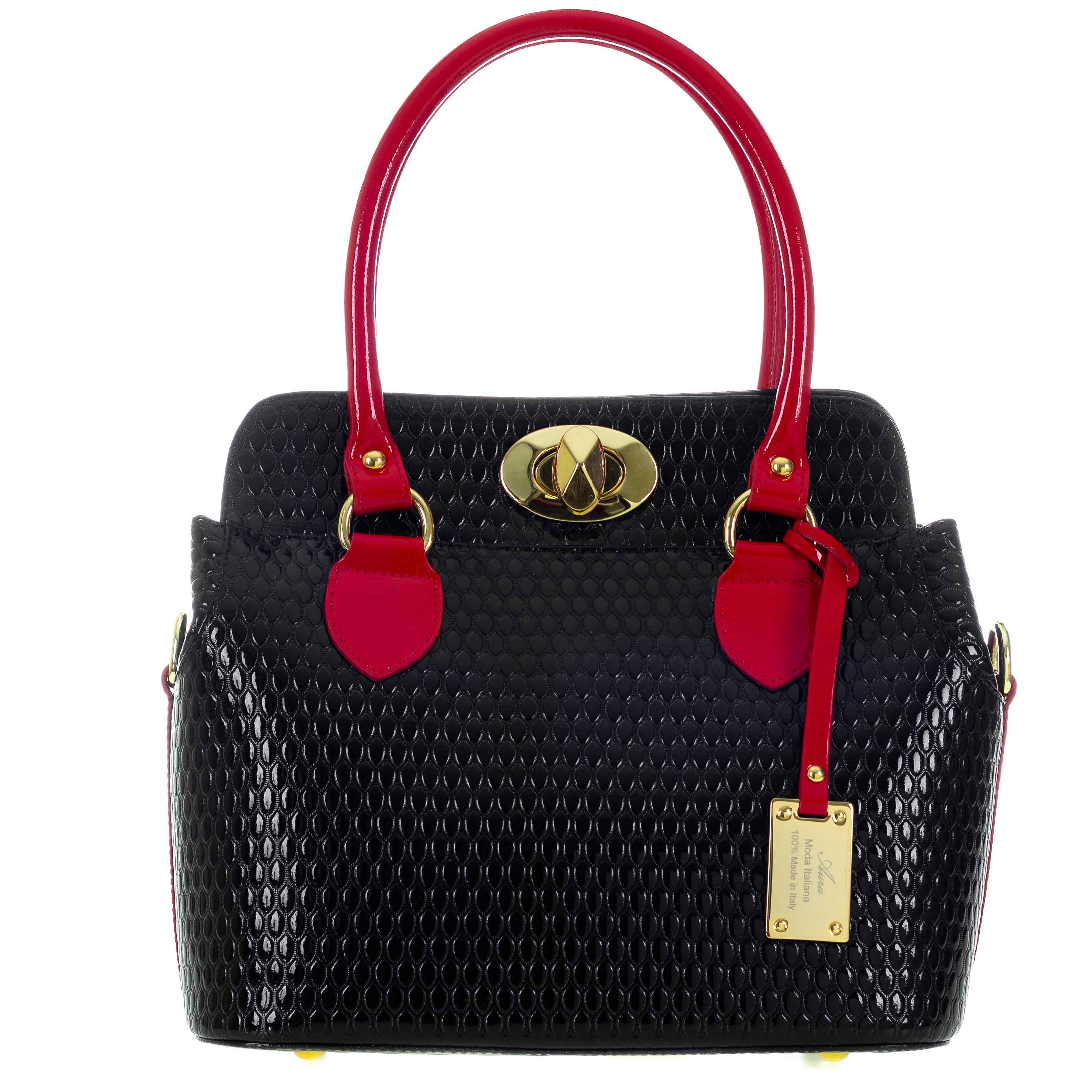 f8d5e1b798cf2 AURA Italian Made Black & Red Patent Leather Structured Tote Handbag. Tap to  expand