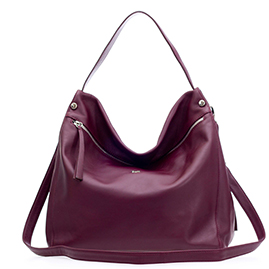 Bruno Rossi Italian Made Burgundy Red Leather Hobo Bag