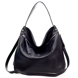 Bruno Rossi Italian Made Black Leather Hobo Bag