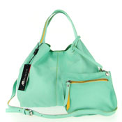 Asia Bellucci Italian Made Pastel Mint Green Soft Leather Small Slouchy Designer Tote With Pouch