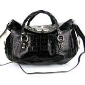 Robe Di Firenze Italian Designer Black Croc Embossed Leather Handbag