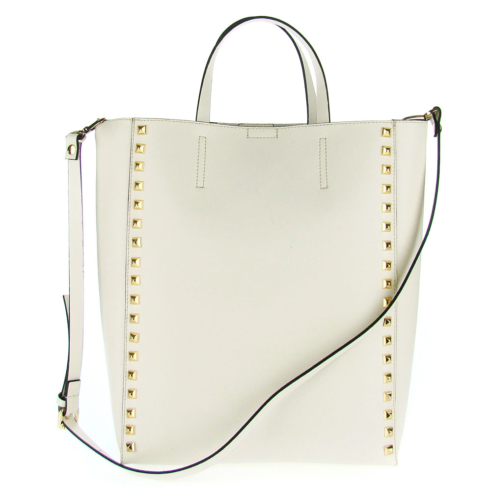 Asia Bellucci Italian Made Off-White Leather Large Structured Designer Studded Tote - / CLEARANCE /