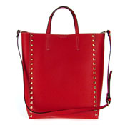 Asia Bellucci Italian Made Red Leather Large Structured Designer Studded Tote