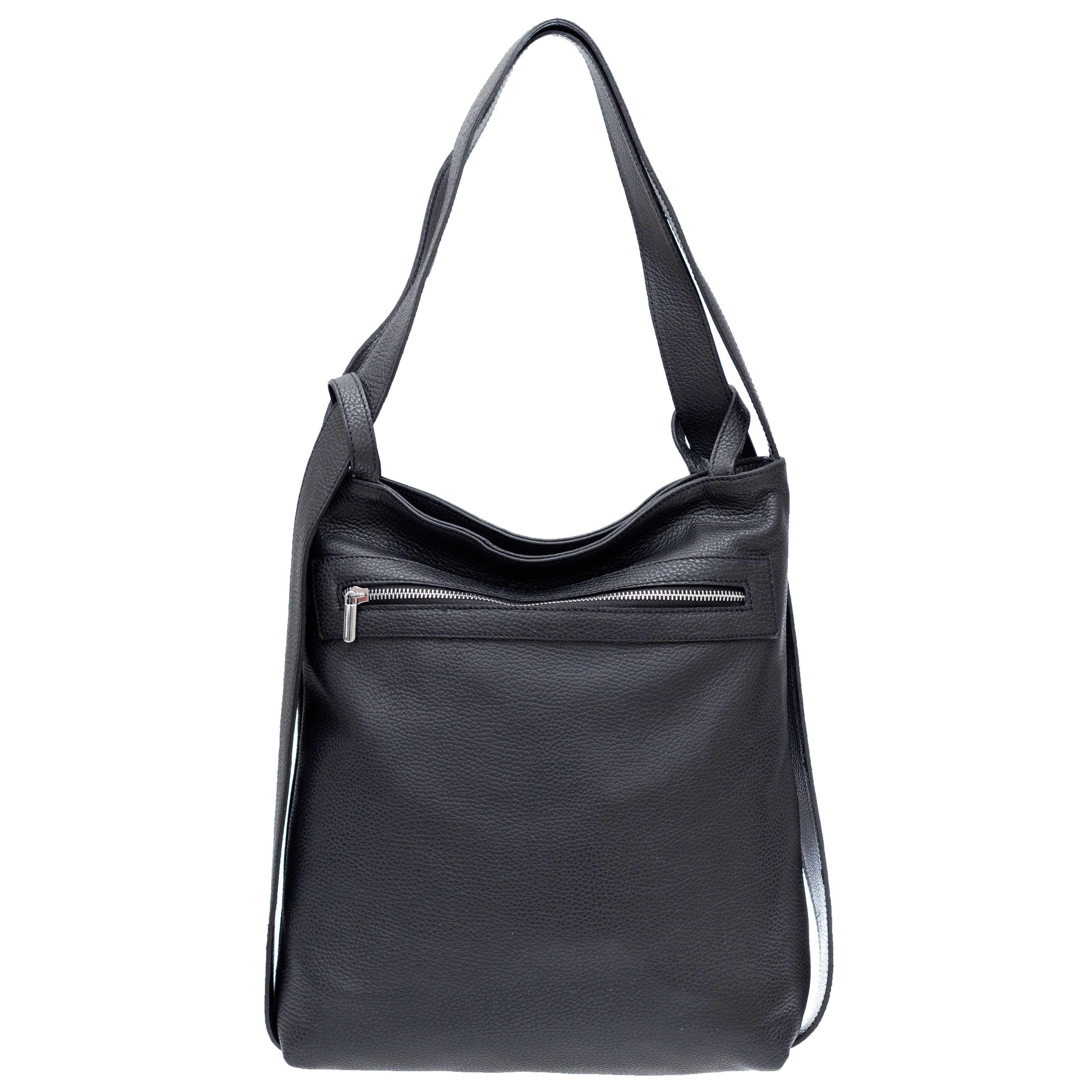 Nardelli Italian Made Black Calf Leather Large Shoulder Bag/Backpack
