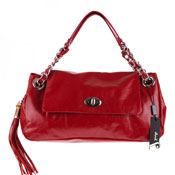 Jenrigo Italian Designer Flap Bag With Tassel In Red Leather