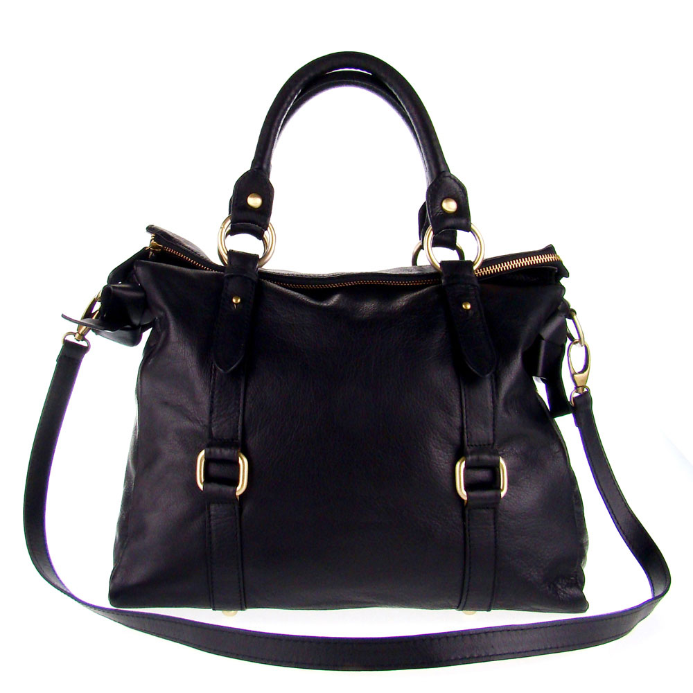 Studiomoda Italian Made Black Leather Large Designer Carryall Tote Handbag - / CLEARANCE /