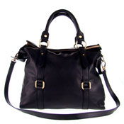 Studiomoda Italian Made Black Leather Large Designer Carryall Tote Handbag