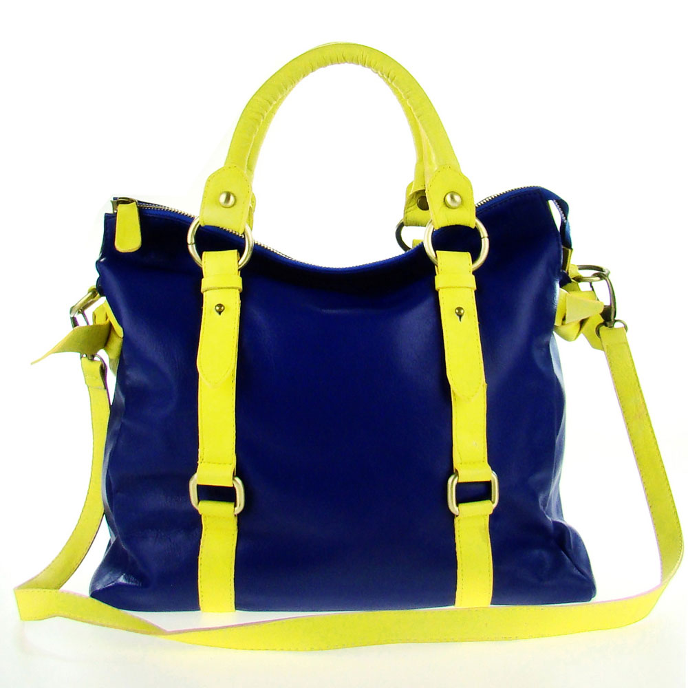 Cerutti Italian Made Blue & Yellow Leather Large Carryall Tote