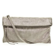 Taupe Metallic Shimmer Leather Evening Clutch Bag Made in Italy by Gianni Chiarini