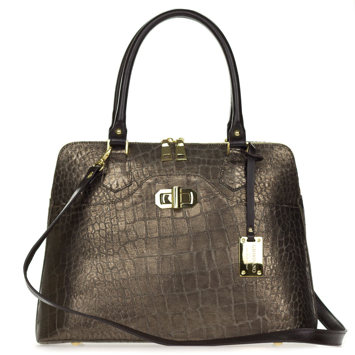 Metallic Brown Pewter Crocodile Embossed Leather Tote Handbag Made in Italy by Giordano