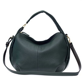 Bruno Rossi Italian Made Dark Green Soft Deerskin Leather Small Hobo bag