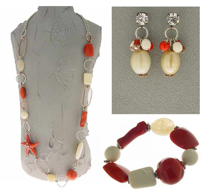Italian Fashion Jewelry Set: Necklace, Earrings, Bracelet - Capri4