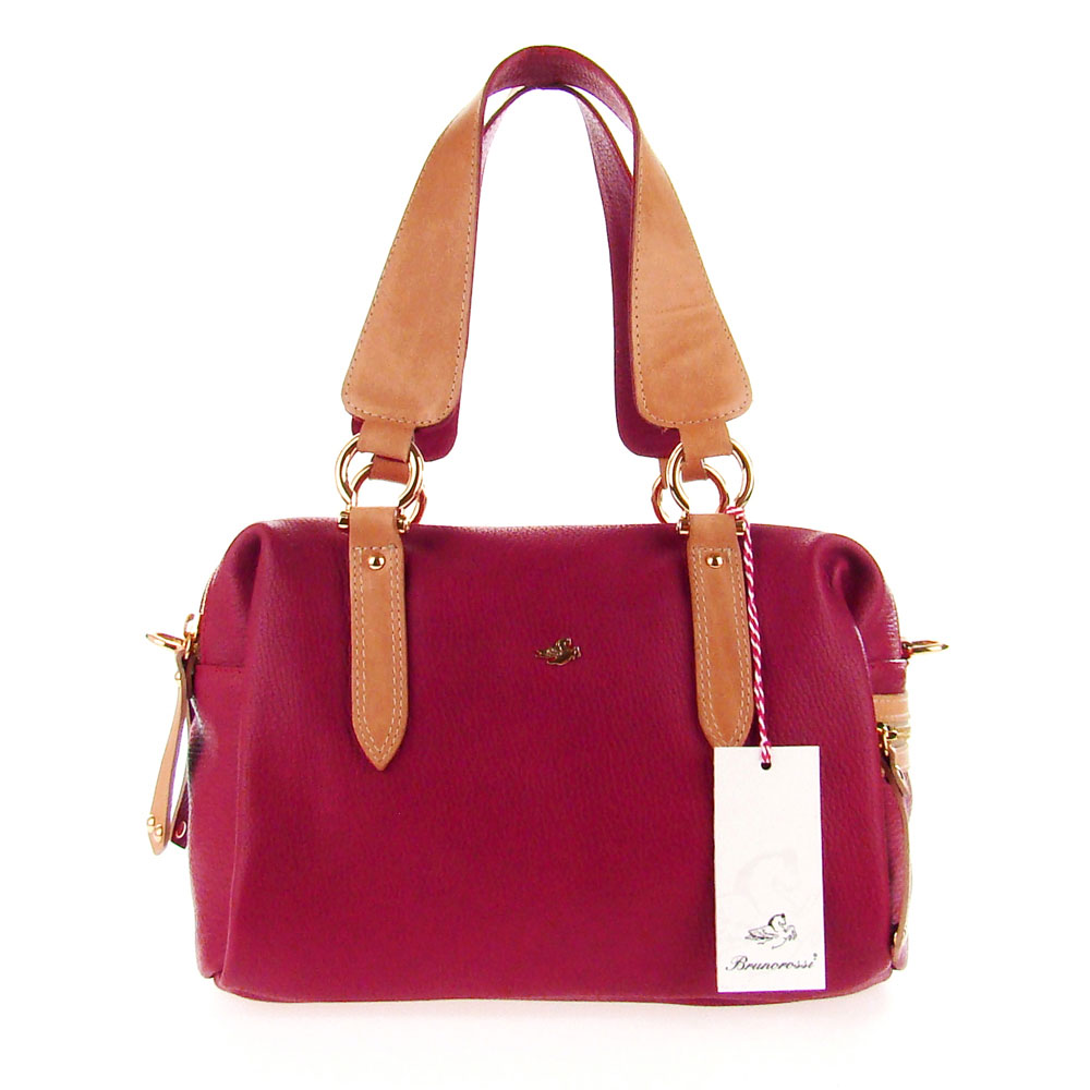 33528db33b86 Red Calfskin Leather Satchel Shoulder Bag Made in Italy by Bruno Rossi