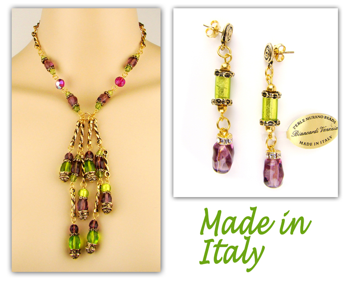 Italian Designer Venetian Murano Jewelry Set: Necklace And Earrings - Green