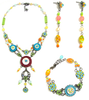 Italian Fashion Jewelry Set: Necklace, Earrings, Bracelet - Guadalupe3