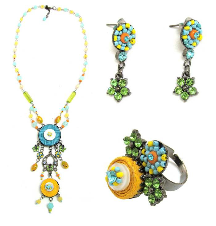 Italian Fashion Jewelry Set: Necklace, Earrings, Ring - Guadalupe4