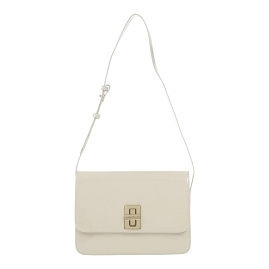 AnnaRita N Italian Made Cream Patent Leather Crossbody Bag