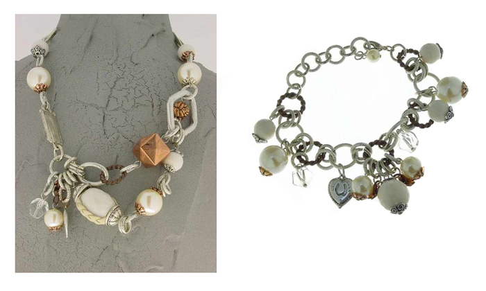 Italian Fashion Jewelry Set: Necklace And Bracelet - Ischia2