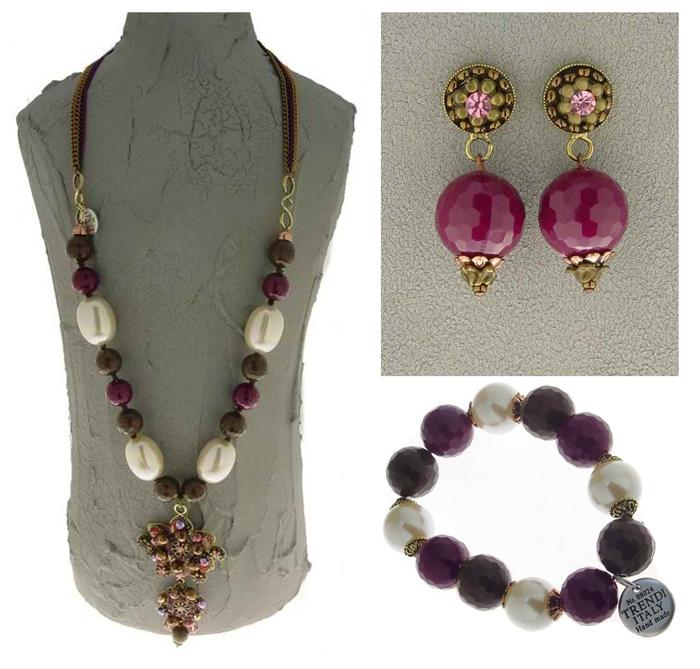 Italian Fashion Jewelry Set: Necklace, Earrings, Bracelet ...