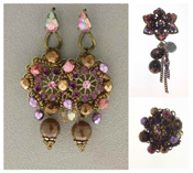 Italian Fashion Jewelry Set: Earrings, Brooch, Ring
