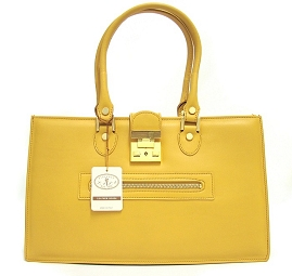 L.A.P.A. Italian Designer Yellow Calfskin Leather Satchel Handbag Purse
