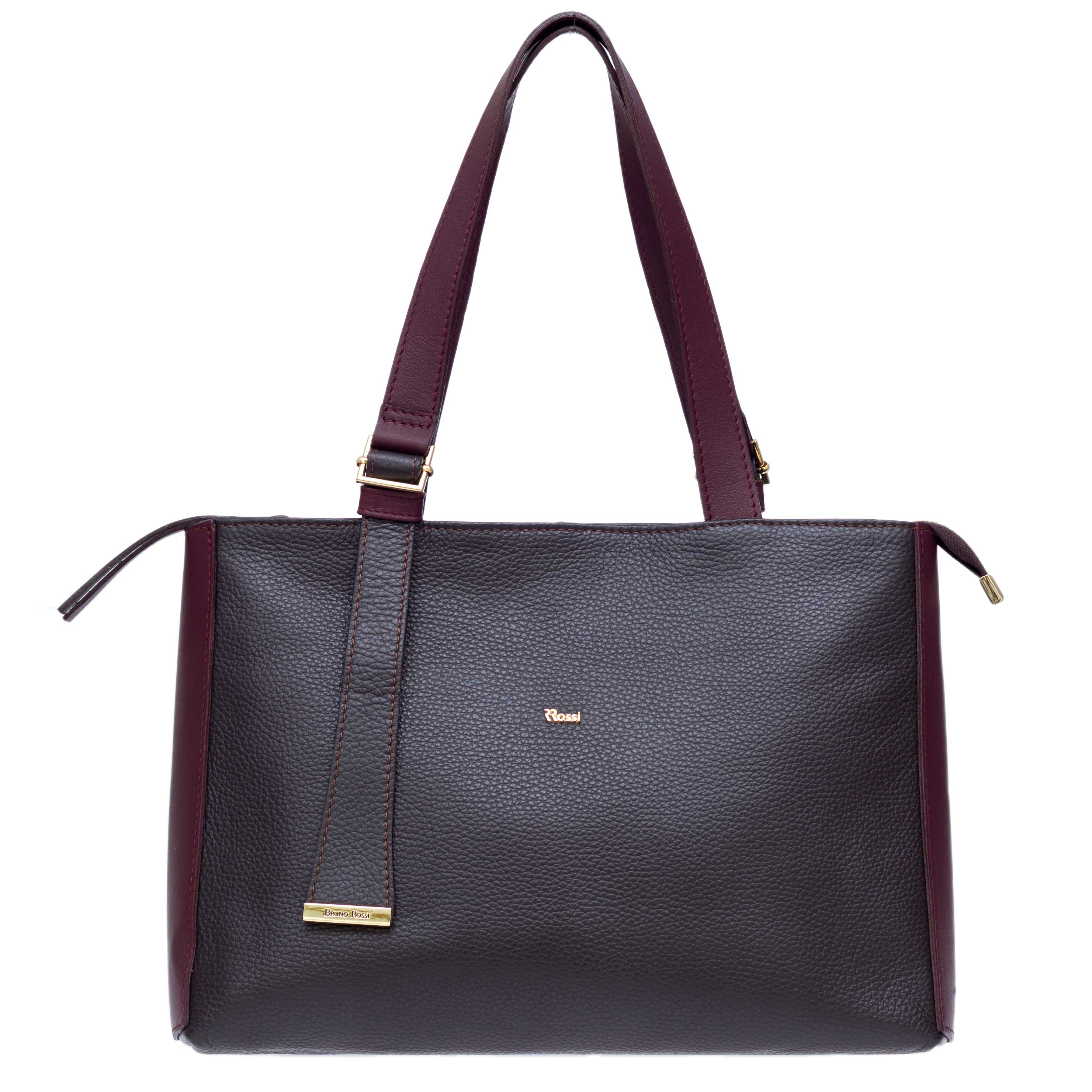 Bruno Rossi Italian Made Dark Brown Pebbled Leather Large Tote Bag