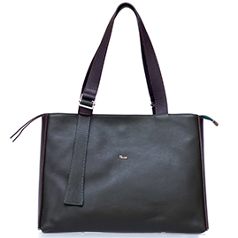 Bruno Rossi Italian Made Dark Moss Green Calf Leather Large Tote Bag