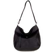 Black Leather Large Hobo Bag with Side Pocket Made in Italy by Bruno Rossi