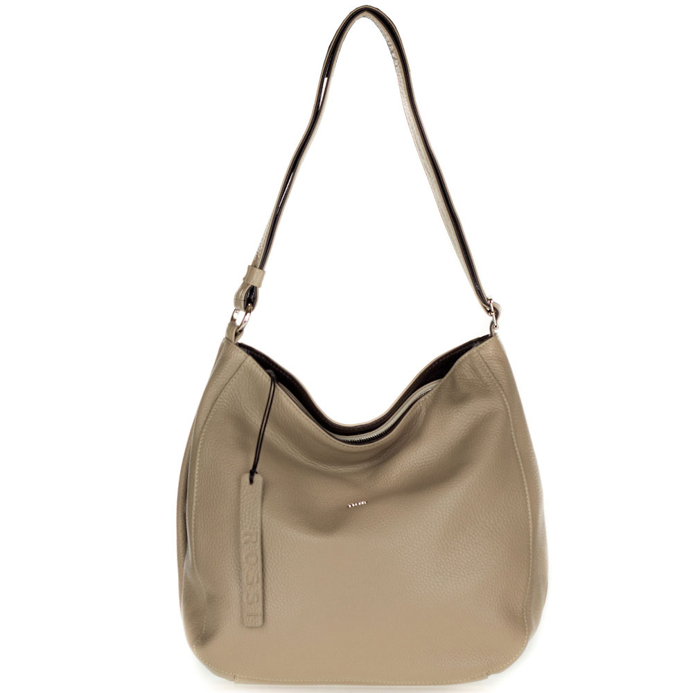 Bruno Rossi Italian Made Beige Leather Large Hobo Bag with Side Pocket - /CLEARANCE/