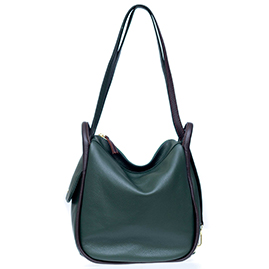 Bruno Rossi Italian Made Dark Moss Green Pebbled Leather Convertible Hobo Bag Backpack