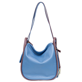 Bruno Rossi Italian Made Blue Pebbled Leather Convertible Hobo Bag Backpack
