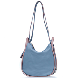 Bruno Rossi Italian Made Blue Calf Leather Convertible Hobo Bag Backpack