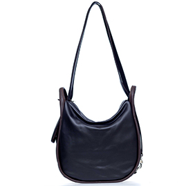 Bruno Rossi Italian Made Black Calf Leather Convertible Hobo Bag Backpack