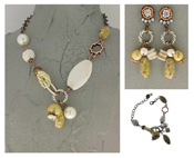 Italian Fashion Jewelry Set: Necklace, Earrings, Bracelet - Marteen1
