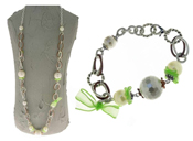 Italian Fashion Jewelry Set: Necklace And Bracelet - Panarea-Green1