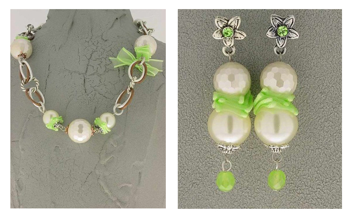 Italian Fashion Jewelry Set: Necklace And Earrings - Panarea-Green2