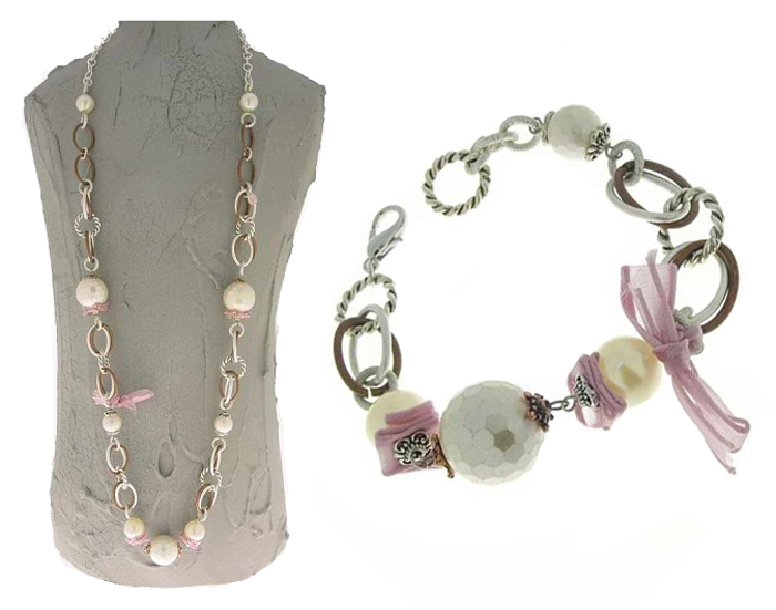 Italian Fashion Jewelry Set: Necklace And Bracelet - Panarea-Pink1