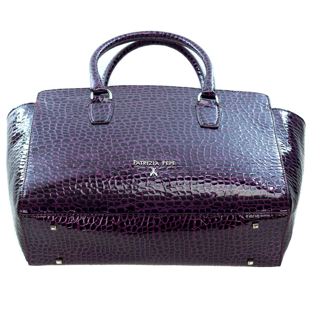Patrizia pepe italian made purple patent leather shopper tote for Patrizia pepe italia