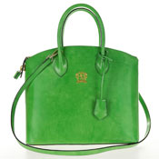 Polished Calf Leather Tote - Green Made in Italy by Pratezi