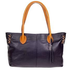 Classe Regina Italian Made Black Leather Shopper Tote Bag - / CLEARANCE /